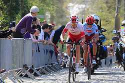 Kenneth Vanbilsen (BEL) Cofidis and Viacheslav Kuznetsov (RUS) Katusha Alpecin give chase on Taaienberg during the 2019 E3 Harelbeke Binck Bank Classic 2019 running 203.9km from Harelbeke to Harelbeke, Belgium. 29th March 2019.<br /> Picture: Eoin Clarke | Cyclefile<br /> <br /> All photos usage must carry mandatory copyright credit (© Cyclefile | Eoin Clarke)