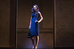 "© Licensed to London News Pictures. 01/11/2013. London, England. Picture: Sarah Armstrong as Christine Keeler. The play ""Keeler"", the inside story of the Profumo Affair based on the book ""The Truth at Last"" by Christine Keeler opens at the Charing Cross Theatre with Sarah Armstrong as Christine Keeler and Paul Nicholas as Stephen Ward. The play is scheduled to run from 31 October to 14 December 2013. Photo credit: Bettina Strenske/LNP"