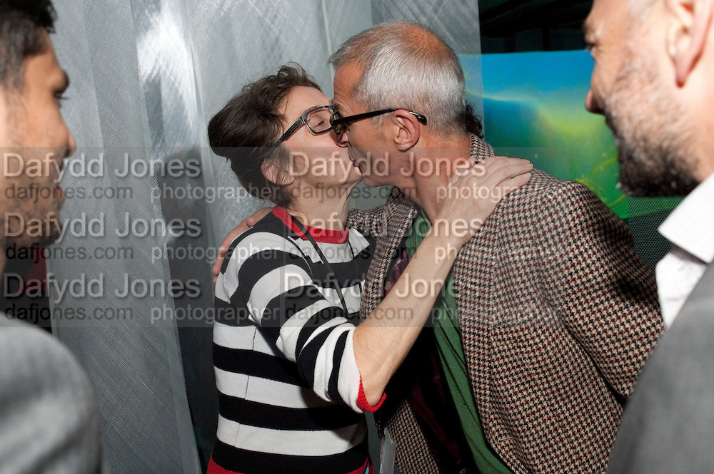 PIPILOTTI RIST; BALZ ROTH, Gallerygoers at 'Eyeball Massage', Pipilotto Rist exhibition opening. Hayward Gallery. <br /> <br />  , -DO NOT ARCHIVE-© Copyright Photograph by Dafydd Jones. 248 Clapham Rd. London SW9 0PZ. Tel 0207 820 0771. www.dafjones.com.