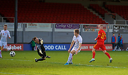 NEWPORT, WALES - Wednesday, November 13, 2019: Wales' Keenan Pattern scores the third goal during the UEFA Under-19 Championship Qualifying Group 5 match between Wales and Poland at Rodney Parade. Wales won 3-0. (Pic by David Rawcliffe/Propaganda)