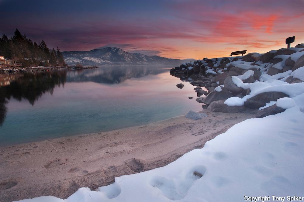 """Burnt Cedar Beach Sunset 1"" - The sun sets over Lake Tahoe in Incline Village at Burnt Cedar Beach."