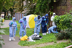 © Licensed to London News Pictures. 07/09/2020. London, UK. The scene at Debden Close in Burnt Oak, Barnet - north London - where 22-year-old man was murdered on Saturday. Police were called at 23:05hrs on Saturday, 5th September to reports of a stabbing on Debden Close where officers found a 22-year-old man suffering from a stab injuries on Martlesham Walk. They immediately provided first aid. Despite the efforts of police and ambulance medics to save him, he was pronounced dead at the scene at 23:45hrs. A murder investigation is underway. No arrests have been made. Photo credit: Ben Cawthra/LNP