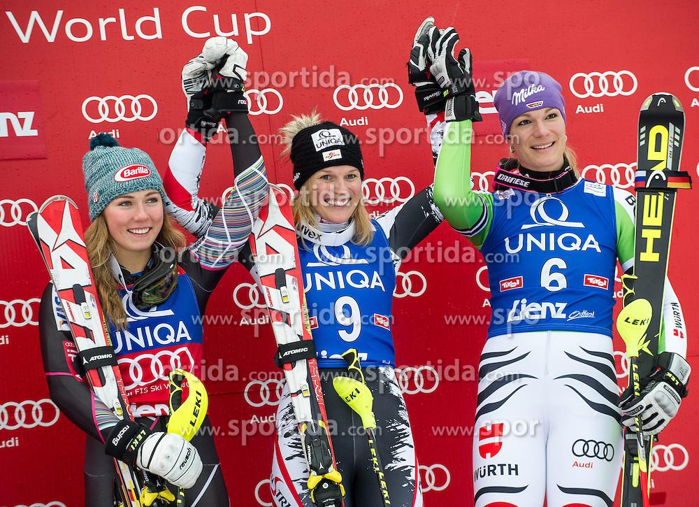 29.12.2013, Hochstein, Lienz, AUT, FIS Weltcup Ski Alpin, Lienz, Slalom, Damen, Siegerpraesentation, im Bild Zweiter Platz Mikaela Shiffrin (USA), Gewinnerin Marlies Schild (AUT) und Dritter Platz Maria Hoefl-Riesch (GER) // 2nd place Mikaela Shiffrin (USA), Winner Marlies Schild (AUT) and 3rd place Maria Hoefl-Riesch (GER) celebrates on podium after ladies slalom Lienz FIS Ski Alpine World Cup at Hochstein in Lienz, Austria on 2013/12/29, EXPA Pictures © 2013 PhotoCredit: EXPA/ Michael Gruber