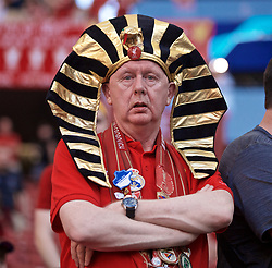 MADRID, SPAIN - SATURDAY, JUNE 1, 2019: A Liverpool supporter before the UEFA Champions League Final match between Tottenham Hotspur FC and Liverpool FC at the Estadio Metropolitano. (Pic by David Rawcliffe/Propaganda)