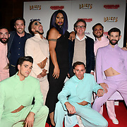 Charlie Wood (Glasses) Ed Bartlam (suit) and The cast attends Briefs: Close Encounters - press night an All-male 'Boylesque' group show off their circus skills, drag acts and raucous comedy routines at The Spiegeltent Leicester Square on 14 November 2018, London, UK.
