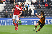Bristol City defender Bailey Wright (5) and Hull City defender Eric Lichaj (2)  during the EFL Sky Bet Championship match between Hull City and Bristol City at the KCOM Stadium, Kingston upon Hull, England on 5 May 2019.