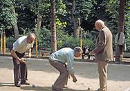 """April in Paris"".   Boccie Ball players in Luxemburg Gardens, Paris.   Kodachrome slide (cirra 1980)."