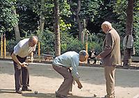"""April in Paris"".   Senior Boccie Ball players in Luxemburg Gardens, Paris.   Kodachrome slide (cirra 1980)."