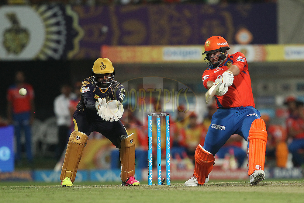 Aaron Finch of Gujarat Lions during match 38 of the Vivo Indian Premier League ( IPL ) 2016 between the Kolkata Knight Riders and the Gujarat lions held at the Eden Gardens Stadium in Kolkata on the 8th May 2016<br /> <br /> Photo by Ron Gaunt / IPL/ SPORTZPICS