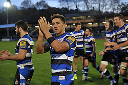 Gavin Henson of Bath Rugby acknowledges the crowd - Photo mandatory by-line: Patrick Khachfe/JMP - Mobile: 07966 386802 01/11/2014 - SPORT - RUGBY UNION - Bath - The Recreation Ground - Bath Rugby v London Welsh - LV= Cup