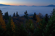 Hensley Hill and fog bank at night in fall. Yaak Valley Montana