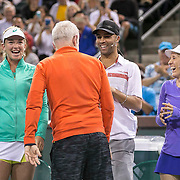 March 7, 2015, Indian Wells, California:<br /> John McEnroe is introduced alongside Coco Vandeweghe, James Blake, and Tracy Austin during the McEnroe Challenge for Charity presented by Masimo in Stadium 2 at the Indian Wells Tennis Garden in Indian Wells, California Saturday, March 7, 2015.<br /> (Photo by Billie Weiss/BNP Paribas Open)