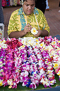Man with leis (editorial use only), Hawaii<br />