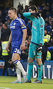 Chelsea defender John Terry and Chelsea goalkeeper Thibaut Courtois looking gutted after the goal during the Barclays Premier League match between Chelsea and Everton at Stamford Bridge, London, England on 16 January 2016. Photo by Andy Walter.