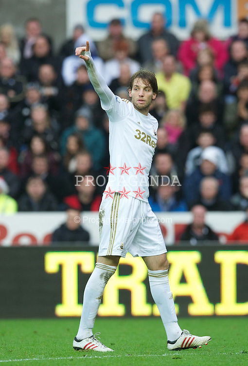 SWANSEA, WALES - Sunday, December 23, 2012: Swansea City's Miguel Perez Cuesta 'Michu' in action against Manchester United during the Premiership match at the Liberty Stadium. (Pic by David Rawcliffe/Propaganda)
