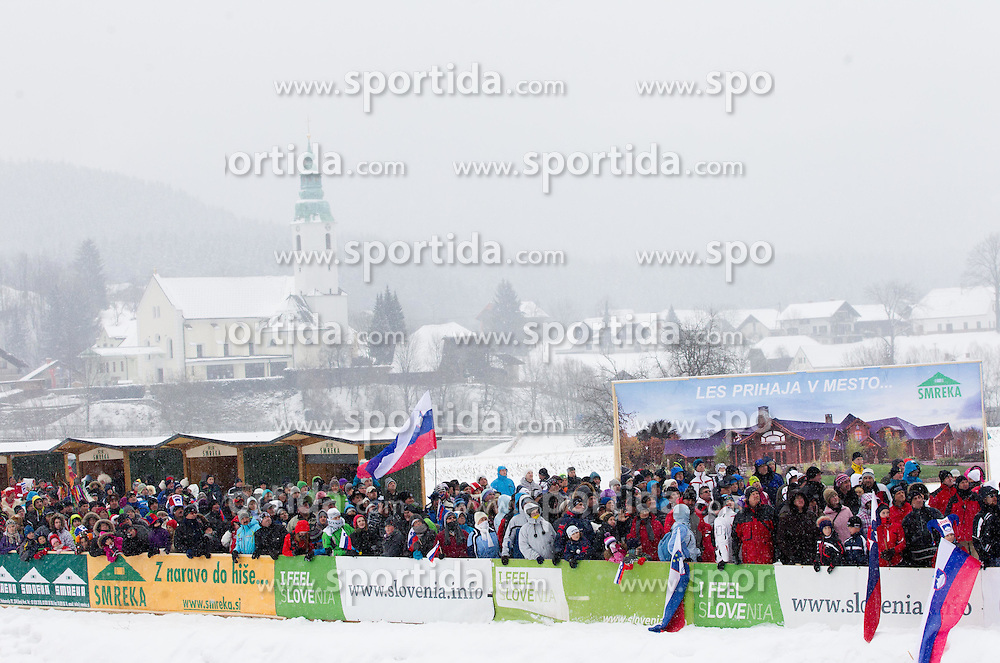 Spectators during Normal Hill Individual Competition at FIS World Cup Ski jumping Ladies Ljubno 2012, on February 12, 2012 in Ljubno ob Savinji, Slovenia. (Photo By Vid Ponikvar / Sportida.com)