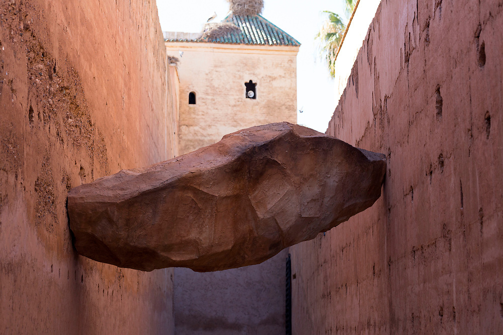 Art installation, El Badi Palace Architecture, Marrakesh, Morocco, 2016–04-22. <br />