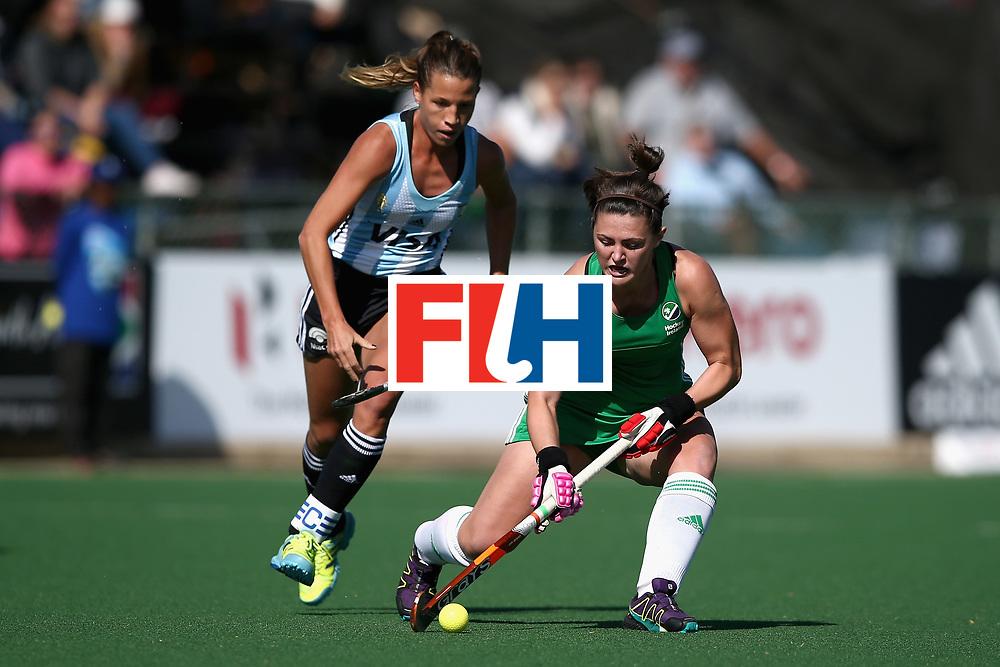 JOHANNESBURG, SOUTH AFRICA - JULY 18: Roisin Upton of Ireland and Delfina Merino of Argentina battle for possession during the Quarter Final match between Argentina and Ireland during the FIH Hockey World League - Women's Semi Finals on July 18, 2017 in Johannesburg, South Africa.  (Photo by Jan Kruger/Getty Images for FIH)