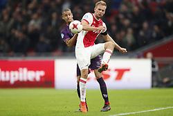 (L-R) Ramon Leeuwin of FC Utrecht, Siem de Jong of Ajax during the Dutch Eredivisie match between Ajax Amsterdam and FC Utrecht at the Amsterdam Arena on November 05, 2017 in Amsterdam, The Netherlands