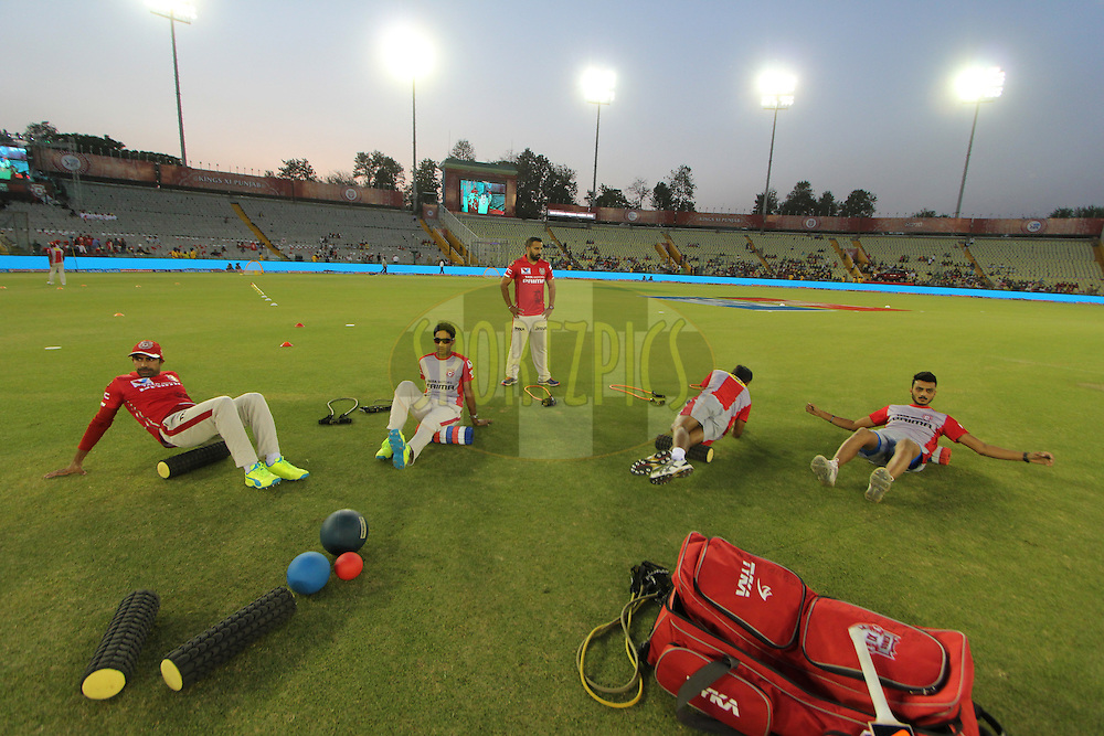 Kings XI Punjab players warmup before  match 3 of the Vivo Indian Premier League ( IPL ) 2016 between the Kings XI Punjab and the Gujarat Lions held at the IS Bindra Stadium, Mohali, India on the 11th April 2016<br /> <br /> Photo by Arjun Singh/ IPL/ SPORTZPICS