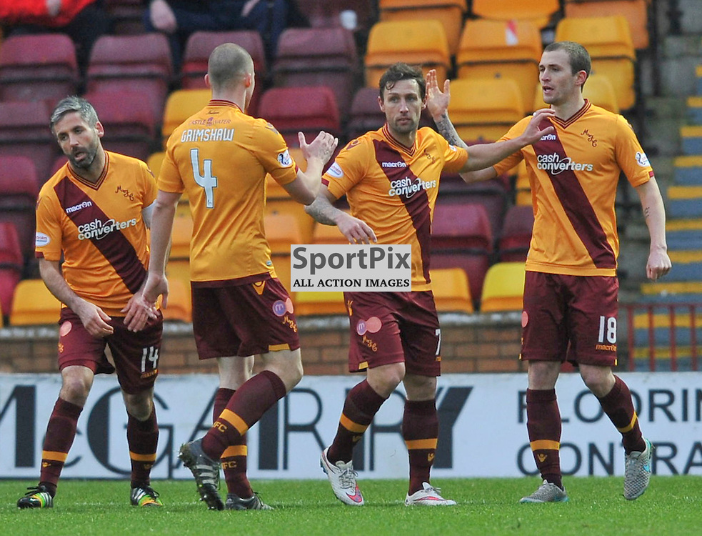 Scott McDonald celebrates with his teammates after scoring during the 4th round Scottish Cup tie between Motherwell v Cove Rangers, FirPark, Saturday 09 January 2016 (c) Angie Isac | SportPix.org.uk