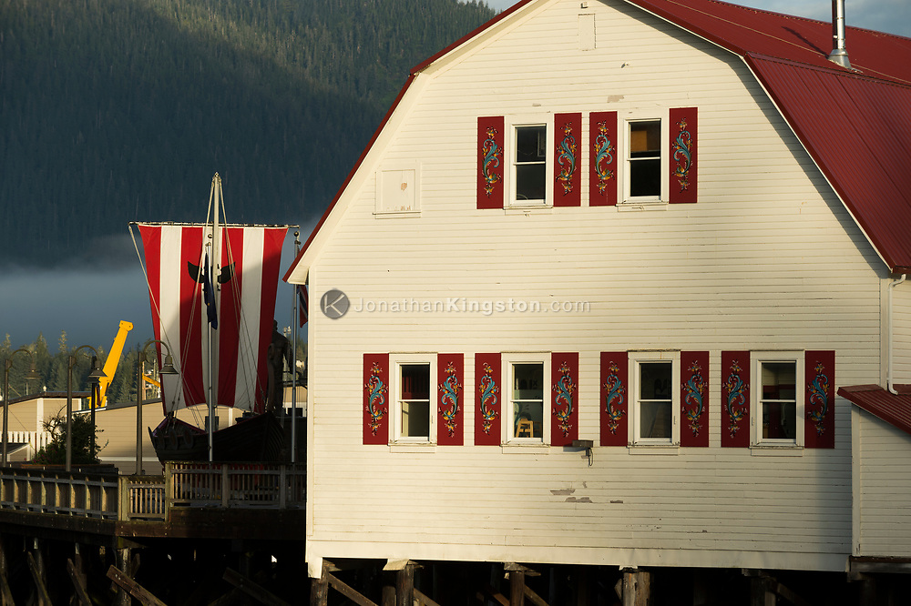 The Sons of Norway lodge, a red roofed barn-like building in Petersburg, Alaska.