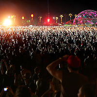 Crystal Chatham/The Desert Sun<br /> <br /> 04/30/2007 -- A sea of fans watch as the reunited band Rage Against the Machine performs Sunday, April 30 during the final headline performance of the Coachella Valley Music &amp; Arts Festival at Empire Polo Grounds in Indio.