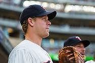 Justin Morneau #33 of the Minnesota Twins looks on from the dugout before a game against the Chicago White Sox on June 19, 2013 at Target Field in Minneapolis, Minnesota.  The Twins defeated the White Sox 7 to 4.  Photo: Ben Krause