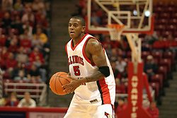 19 November 2005: Khalif Ford looks over the defensive layout in search of an open teammate. In a non-conference race that came down to a photo finish, the Illinois State Redbirds slipped past the Indianapolis University Greyhounds 54-50 at Redbird Arena in Normal Illinois