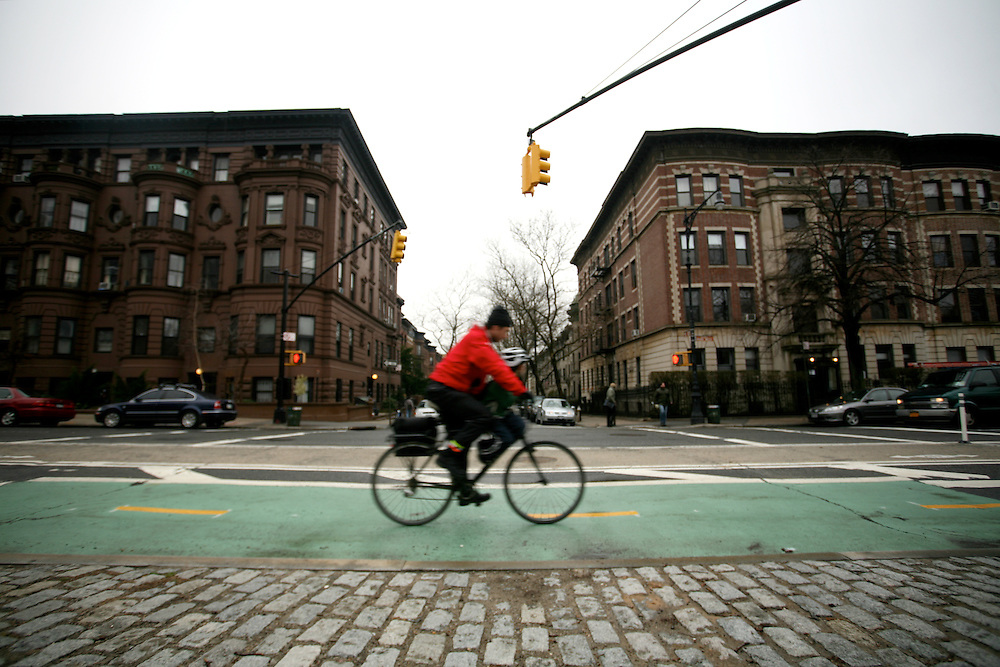 MARCH 21 - Brooklyn: Prospect Park West bike lane. Two groups recently field a law suit against the Transportation department to remove the bike lane.