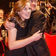 NLD/Amsterdam/20160311 - Inloop Boekenbal 2016, David van Reybrouck schrijver van Boekenweek essay. En Esther Gerritsen, schrijfster van Boekenweekgeschenk