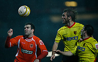Photo: Richard Lane/Richard Lane Photography. Watford v Blackpool. Coca Cola Championship. 01/11/2008. Ben Burgess (L) and Darren Ward (L) go for the ball