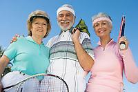 Three tennis players, portrait