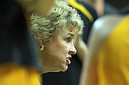 December 20, 2011: Iowa Hawkeyes head coach Lisa Bluder talks to her team in a timeout during the NCAA women's basketball game between the Drake Bulldogs and the Iowa Hawkeyes at Carver-Hawkeye Arena in Iowa City, Iowa on Tuesday, December 20, 2011. Iowa defeated Drake 71-46.