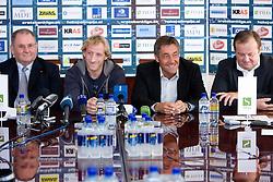 Ernest Aljancic, Tomaz Vnuk,  Mitja Mejac and Matjaz Sekelj at the press conference due to the end of the career of Slovenian ice-hockey player Tomaz Vnuk,  on October 05, 2009, in Hala Tivoli, Ljubljana, Slovenia.   (Photo by Vid Ponikvar / Sportida)