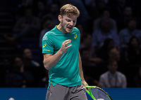 Tennis - 2017 Nitto ATP Finals at The O2 - Day Eight<br /> <br /> Final : Grigor Dimitrov (Bulgaria) Vs David Goffin (Belguim) <br /> <br /> David Goffin (Belguim) cries out in despair after losing the first set at the O2 Arena <br /> <br /> COLORSPORT/DANIEL BEARHAM