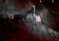 JAKARTA, Aug. 18, 2018  A torchbearer is seen at the opening ceremony of the 18th Asian Games at Gelora Bung Karno (GBK) Main Stadium in Jakarta, Indonesia, Aug. 18, 2018. (Credit Image: © Yue Yuewei/Xinhua via ZUMA Wire)