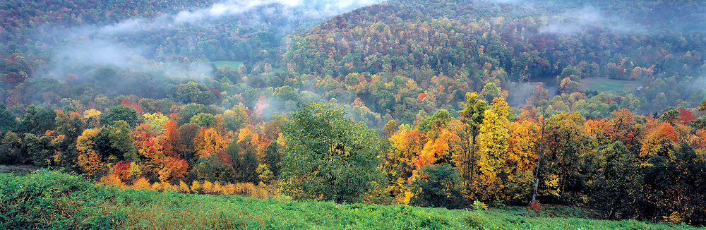 Skyline Drive looks over the fall colors of the forest of Shenandoah National Park, Virginia.