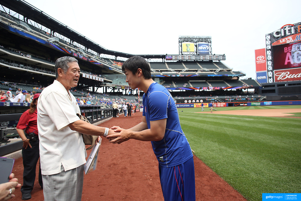 Masanori Murakami, the first Japanese player ever to play for a Major league team, before the game with Chicago Cubs Japanese pitcher Tsuyoshi Wada. Masanori Murakami threw out the first pitch during the New York Mets Vs Chicago Cubs MLB regular season baseball game at Citi Field, Queens, New York. USA. 2nd July 2015. Photo Tim Clayton