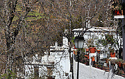 Houses with terraces, Bubion, gorge of the Poqueira river, Alpujarra, Andalucia, Southern Spain. Moorish influence is seen in the distinctive cubic architecture of the Sierra Nevada's Alpujarra region, reminiscent of Berber architecture in Morocco's Atlas Mountains. Photograph by Manuel Cohen.
