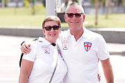 A English couple ready for the Rugby League World Cup Quarter-Final match between England and  Papua New Guinea at Melbourne Rectangular Stadium, Melbourne, Australia on 19 November 2017. Photo by Mark  Witte.