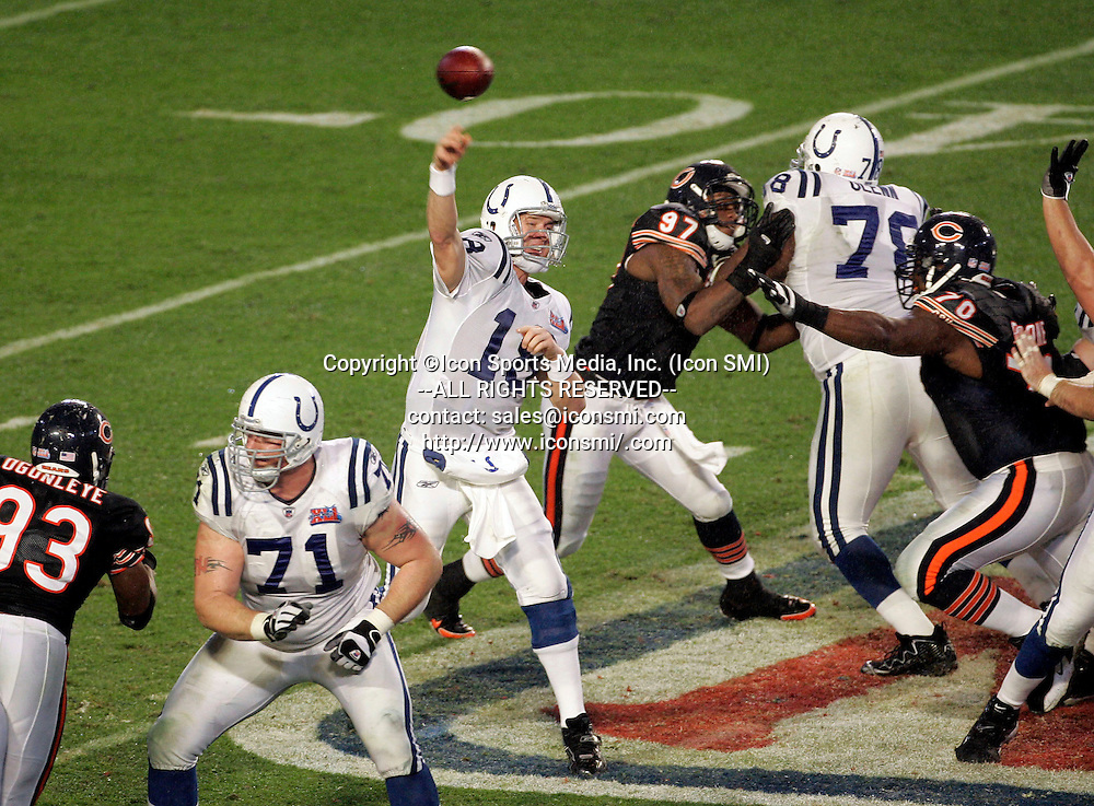 February 4, 2007; Indianapolis Colts quarterback Peyton Manning passes from the pcoket as the AFC Champion Indianapolis Colts defeated the NFC Champion Chicago Bears by the final score of 29-17 In Super Bowl XLI at Dolphin Stadium in South Florida.
