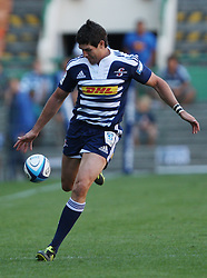 Jaque Fourie of the Stormers chips the ball during the Super Rugby (Super 15) fixture between DHL Stormers and the The Force played at DHL Newlands in Cape Town, South Africa on 26 March 2011. Photo by Jacques Rossouw/SPORTZPICS