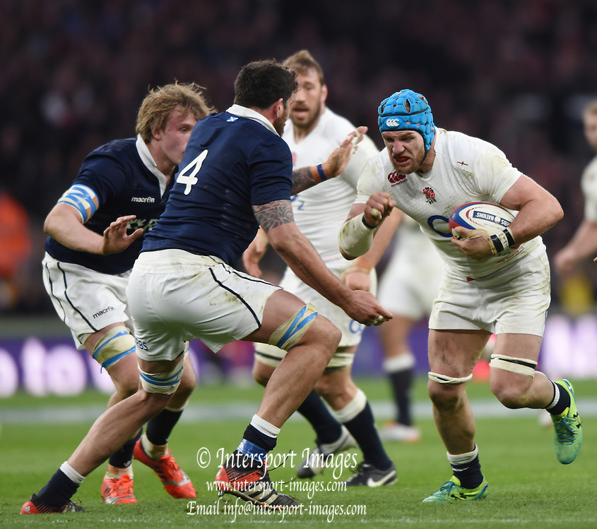 Twickenham, Great Britain,  James HASKELL, carries the ball during the  Six Nations Rugby England vs Scotland, played at the RFU Stadium, Twickenham, ENGLAND. Saturday 14/03/2015<br /> <br /> [Mandatory Credit; Peter Spurrier/Intersport-images]