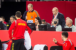 Referee during handball match between National teams of Slovenia and Montenegro on Day 5 in Preliminary Round of Men's EHF EURO 2018, on January 17, 2018 in Arena Zagreb, Zagreb, Croatia. Photo by Ziga Zupan / Sportida