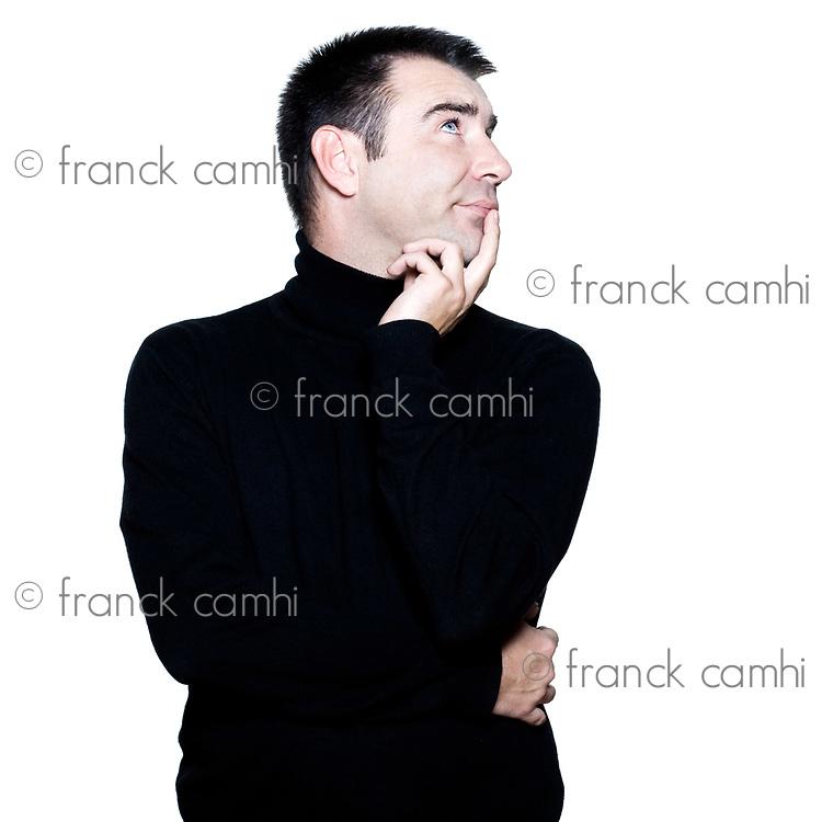 caucasian man portrait hinking pensive attitude portrait on studio isolated white background