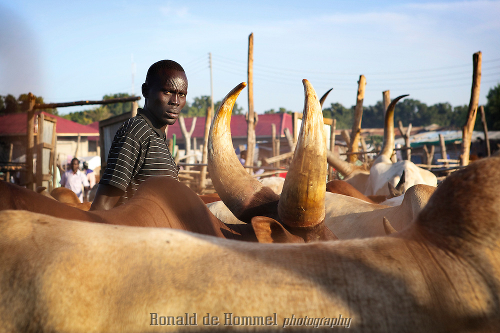 A Dinka pastoralist on a cattle market on the edge of Juba, the capital of South Sudan.