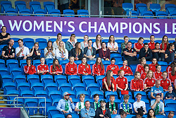 CARDIFF, WALES - Thursday, June 1, 2017: Wales women's players during the UEFA Women's Champions League Final between Olympique Lyonnais and Paris Saint-Germain FC at the Cardiff City Stadium. (Pic by David Rawcliffe/Propaganda)