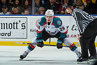 KELOWNA, CANADA - JANUARY 10: Nolan Foote #29 of the Kelowna Rockets lines up at the face off against the Spokane Chiefs on January 10, 2017 at Prospera Place in Kelowna, British Columbia, Canada.  (Photo by Marissa Baecker/Shoot the Breeze)  *** Local Caption ***