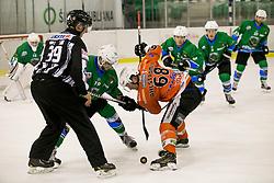 KOREN Gal of HK SZ Olimpija and Victor Ahlstrom of Rittner Baum during hockey match between HK SZ Olimpija (SLO) and Rittner Buam (ITA) in 1st round of Alps Hockey League 2017/18, on September 13, 2017 in Tivoli, Ljubljana, Slovenia. Photo by Urban Urbanc / Sportida